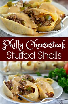 Philly Cheesesteak Stuffed Shells is a dinner the whole family will love. Pasta filled with seasoned meat, peppers, onion, cheese, and cheese sauce. Chicken Stuffed Shells, Stuffed Shells Recipe, Mexican Stuffed Shells, Steak Pasta, Homemade Cheese Sauce, Homemade Pasta, Jumbo Shell Recipes, Easy Tiramisu Recipe, Jumbo Pasta Shells