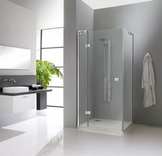 A shower that is barely there (Kalea by Huppe). Glass Shower Doors, Glass Doors, Tall Cabinet Storage, Locker Storage, Hue, Modern Bathroom, Crystal, Furniture, Home Decor