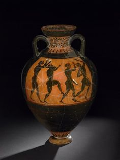 A troop of dancing pentathletes Black-figured Panathenaic prize-amphora Greek, made in Athens about 530-520 BC, attributed to the Euphiletos Painter, from Vulci, Italy