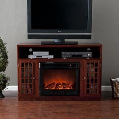 SEI Narita Media Console with Electric Fireplace Mahogany *** Check out this great product.