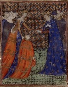"""Miniature showing the future Edward III giving homage to Charles IV under the guidance of Edward's mother, and Charles' sister, Isabella, in 1325."""""""