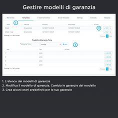 Gestire modelli di garanzia, l'elenco dei modelli di garanzia, modifica il modello di garanzia. Cambia le garanzie del modello, crea alcuni orari predefiniti per le tue garanzie.
