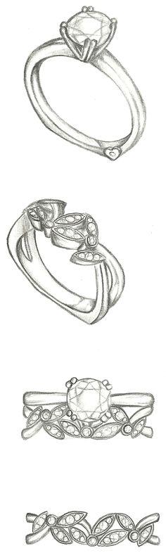 Mark Schneider Design - custom solitaire with floral wedding band