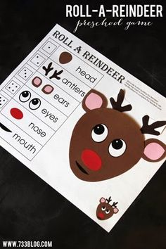 Kindergarten christmas games Roll-a-Reindeer Printable Game - Print this free printable and have some Christmas fun with your little ones! Great for number recognition skills. Christmas Games For Kids, Holiday Games, Christmas Activities For Kids, Holiday Crafts, Holiday Fun, Party Crafts, Children Activities, Kindergarten Christmas Crafts, Xmas Games