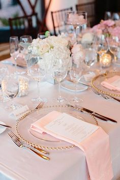 Pink Linens with Gold and White Accents on Reception Tables!