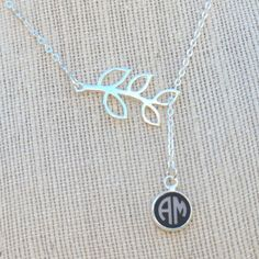 "24"" Silver Branch Personalized Necklace in Cirlce Font"