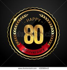 80 golden anniversary logo with red ribbon, low poly design number - stock vector