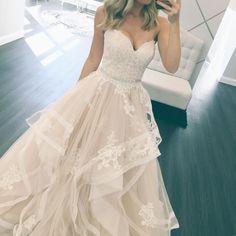 Stella York Bridal / / Layered Ballkleid / / Brautkleid / / One & Only Bridal Boutique / / http: Cheap Wedding Dress, Dream Wedding Dresses, Bridal Dresses, Wedding Gowns, Prom Dresses, Lace Wedding, Wedding Ceremony, Modest Wedding, Long Dresses