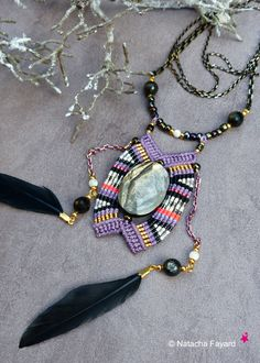Boho chic micro macrame pendant / gold mica / feather / french designer jewelry / Made in France. © Natacha Fayard