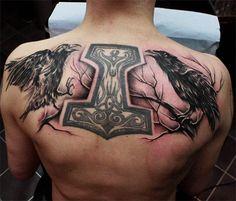 Celtic Thor Odin's Raven Tattoos On Upper Back