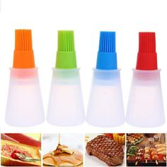 Portable Silicone Oil Bottle With Brush Baking BBQ Basting Brush Pastry Oil Brush Kitchen Baking Honey Oil barbecue Tool Gadgets Wine Sauce, Hot Sauce Bottles, Honey Wine, Cool New Gadgets, Grill Brush, Healthy Oils, Baking And Pastry, Barbecue Grill, Oil Bottle