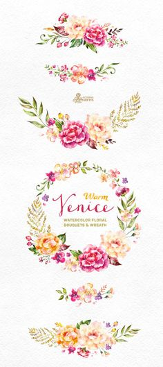 Warm Venice. Watercolor floral Bouquets and Wreath by OctopusArtis