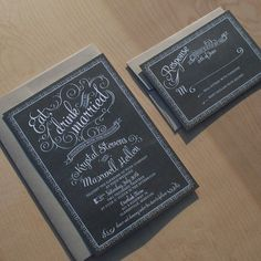 Chalkboard Wedding Invitations - vintage chic, rustic chic, hand drawn cafe poster invitation-. $3.75, via Etsy.