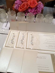 Sample Lace and Ribbon Wedding Invite, Invitation, RSVP card, Lodging card, Directions card. $10.00, via Etsy.