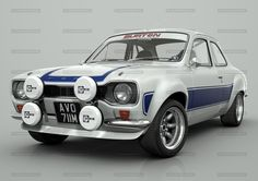 model of the classic Ford Escort, rendered with many different stripe and body colours. A slection of alloy wheels from classic RS Alloys to large racing BBS rims. Classic Cars British, Ford Classic Cars, Escort Mk1, Ford Escort, Ford Rs, Car Ford, Cool Sports Cars, Cool Cars, Retro Cars