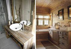 Drewniana szafka podumywalkowa w stylu country / Mała łazienka w drewnie