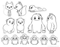 Many many months ago I got to help out on some cute character designs for a little short animation film project being worked on at Bent Image Lab for Hallmark (a few of those sketches are up top...