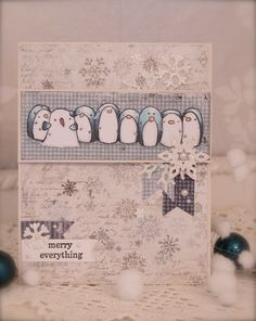 Synnøves Papirverksted, Penny Black stamps, Christmas card, Copic