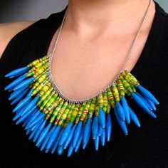 Bold Green and blue paper bead necklace Silver chain by Mudhut101