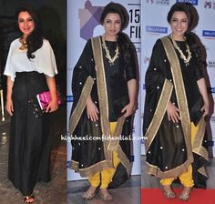 While at a party celebrating the success of Fahad Samar's book 'Scandal Point', it was a Shift high-waisted skirt and a Zara top for Tisca. Valliyan necklace and a Tory Burch clutch finished out her look. For her appearance at the Film Festival, Tisca went the desi route in a black and yellow suit (Payal Singhal?).