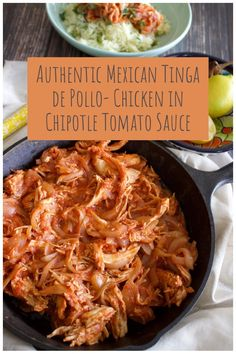 Authentic Mexican Tinga De Pollo-Chicken In Chipotle Tomato Sauce is a delicious dish that can be made any day of the week. Serve it in a warmed corn tortilla, or next to rice and beans. Perfect for gatherings also. Authentic Mexican Chicken Recipes, Mexican Shredded Chicken, Mexican Food Recipes, Authentic Chicken Tinga Recipe, Easy Chicken Tinga Recipe, Authentic Mexican Tacos, Spanish Recipes, Meat Recipes, Cooking Recipes