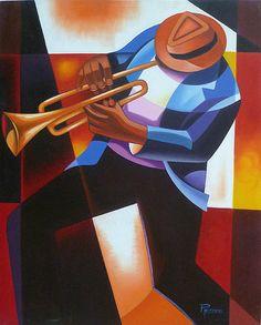 "Haitian Art,  Canvas Painting, Jazz Trumpeter - Modern Art,  Caribbean Art, Haitian Art - 30"" x 40"" - 284"