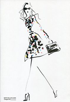 "Miyuki Ohashi fashion illustration, Karlie Kloss in DVF's ""Secret Agent"" Fall '15 Film"