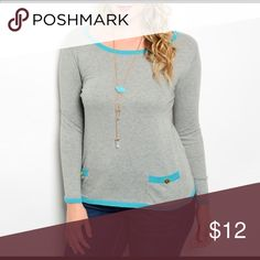"Gray plus size Fabric content: 100% Cotton.  Machine wash cold, gentle cycle.  This sweater fits true to size.  Measurements are approximate and taken from high point of shoulder to bottom hem.  Length in 1XL 25"", 2XL 26"", 3XL 26"".  Bust in 1XL 18"", 2XL 19"", 3XL 19"".  Waist in 1XL 19"", 2XL 19"", 3XL 20"". Sweaters Crew & Scoop Necks"
