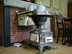 Antique kitchen, cooker: old stove from Belgium, typically originated from the region called Leuven.