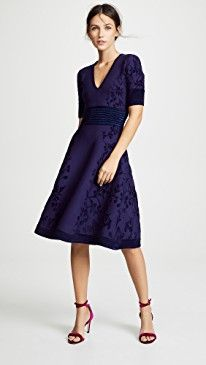ddb388f7d204 Yigal Azrouel Deep V Neck Jacquard Knit Dress | Trendy Cocktail ...