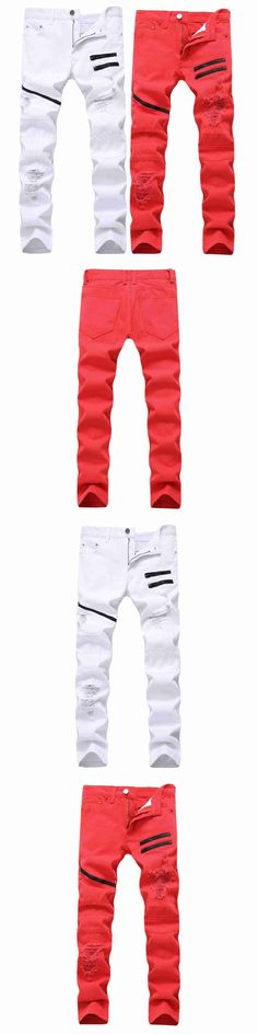 #2121 2017 White/red jeans joggers Casual Skinny Ripped jeans for men Distressed Punk style Multi Chain decoration Slim