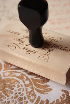 Custom Calligraphy Stamp - Extra Large. $60.00, via Etsy.