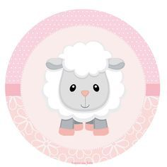 Baby Lamb in Pink: Toppers or Free Printable Candy Bar Labels. Dibujos Baby Shower, Scrapbook Bebe, Eid Stickers, Candy Bar Labels, Baby Sheep, Slider Cards, Baby Lamb, Baby Girl Cards, Party Decoration