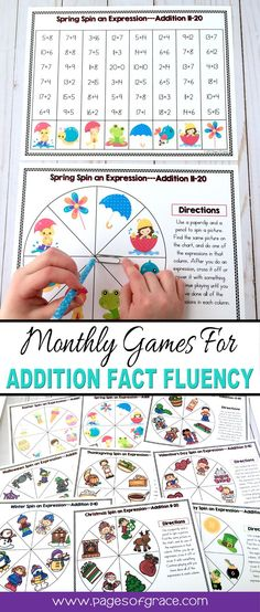 These fun games will help students master addition facts within 20. Great for morning work, daily fact practice, sub tub, homework, test prep. Kindergarten, first grade, and second grade. Help kids practice basic facts every holiday and season with games for each month. Every month has 3 sets for differentiation. You can differentiate based on each child's level.