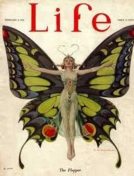 1922 Vintage Vogue Cover Art, Refrigerator Magnet, The Flapper, Butterfly