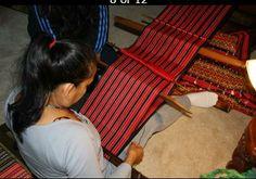 Holly Calica weaves on a Kalinga Laga backstrap loom.