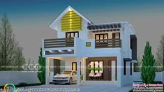 Beautiful 1576 sq-ft double storied residence (Kerala home design) House Roof Design, Duplex House Design, Simple House Design, Modern Bungalow House, Bungalow House Plans, Free House Plans, Small House Plans, Double Storey House Plans, House Design Pictures