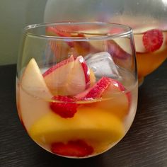 Strawberry Peach White Sangria:     3/4 cu sliced strawberries, 3/4 cu sliced peaches, 1 sliced apple, 1/2 cu rum, 1 bottle sweet white wine.  Mix and refrigerate at least 4 hours.