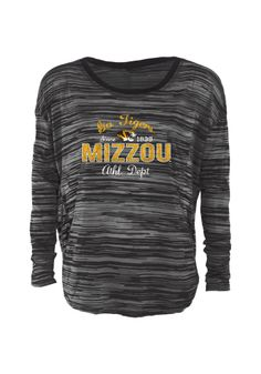 Missouri (Mizzou) Tigers T-Shirt - Black Tigers Stripe Dolman Long Sleeve  Tee d346792bd
