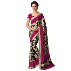 Kastoori Silk Black & Beige Printed Saree - Sd115 at Rs 690