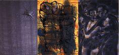 Salle David - Senza titolo - Tecnica mista su tela e piombo.  Trittico, un rigore quasi musicale: l'iniziale adagio, l'andante con terremoto e l'allegro ma non troppo finale. Una lastra tormentata di piombo, che rimanda ai fanghi ribollenti della Solfatara di #Pozzuoli.  #music #dancing #terremoto #reggiadicaserta