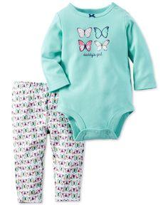 Carter's Baby Girls' 2-Pc. Long-Sleeve Butterfly Bodysuit & Printed Leggings Set