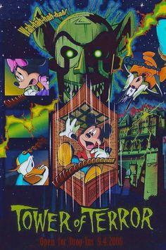 Tower of Terror Open for Drop-Ins Tokyo DisneySea This postcard features Goofy, Minnie Mouse, Donald Duck and Mickey Mouse. Vintage Disney Posters, Retro Disney, Vintage Cartoons, Disney Love, Disney Magic, Disney Art, Walt Disney, Disney Halloween, Parc Disneyland