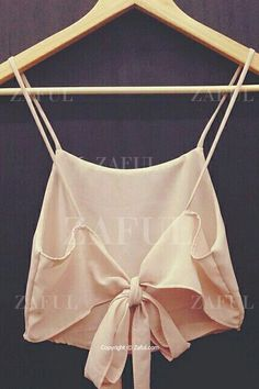 Self-Tie Chiffon Spaghetti Straps Crop Top