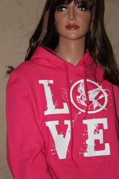 Pink LOVE Hunger Games Inspired Hoodie Size by ParamountPacific, $30.00