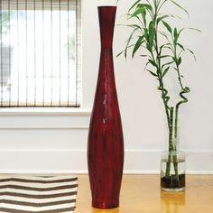 PoliVaz Red Bamboo Floor Vase