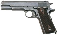 The M1911 is a single-action, semi-automatic, magazine-fed, and recoil-operated handgun chambered for the .45 ACP cartridge.[1] John M. Browning designed the firearm which was the standard-issue side arm for the United States armed forces from 1911 to 1985. The M1911 is still carried by some U.S. forces. It was widely used in World War I, World War II, the Korean War, and the Vietnam War.