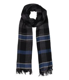 Men's Adam Classic Lux Black & Blue Plaid Stripe Check Super Soft & Silky Scarf: Amazon.co.uk: Clothing