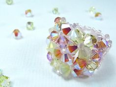 "DeBella Swarovski stretch Ring - ""Pink Lemonade"""