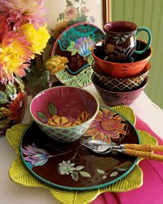 I love mixed pattern/color dish ware! Moving towards this new dream of bright and bold kitchen